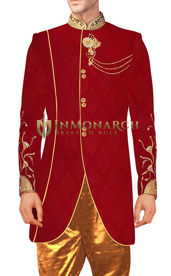 Indian Wedding for Men Crimson Indowestern Designer Sherwani Embroidery