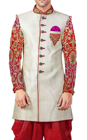 Sherwani Cream Indowestern Partywear Sherwani for Men Wedding