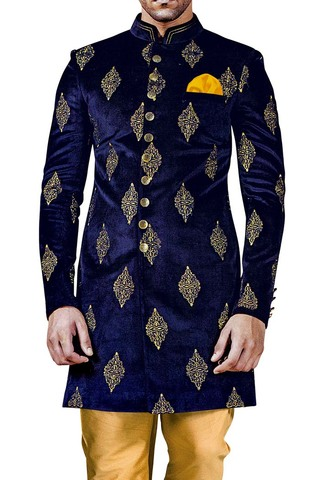 Indian Sherwani for Men Navy Blue Indowestern Ethnic Sherwani kurta