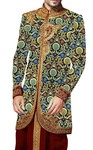 Mens Black kurta for jeans Indowestern Sherwani Floral Design