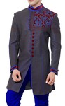 Indian Wedding for Men Gray Indowestern Sherwani Designer Work