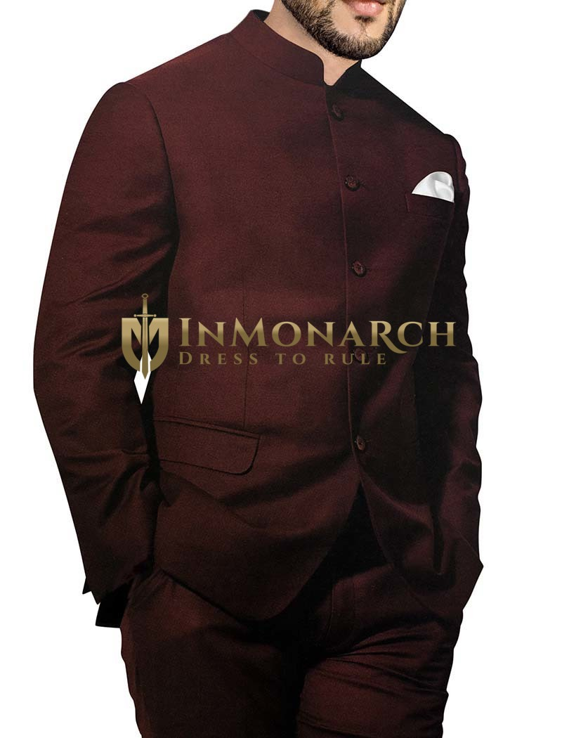 Mens Wine Polyester 3 Pc Jodhpuri Suit Partywear