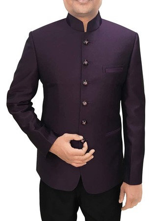 Mens Purple Wine Polyester 2 Pc Jodhpuri Wedding