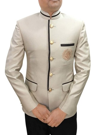 Mens Beige Polyester 2 Pc Jodhpuri Suit Embroidered