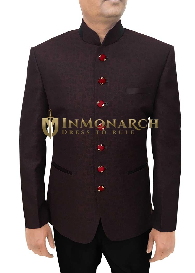 Mens Wine Polyester Viscose 2 Pc Jodhpuri Suit 7 Button