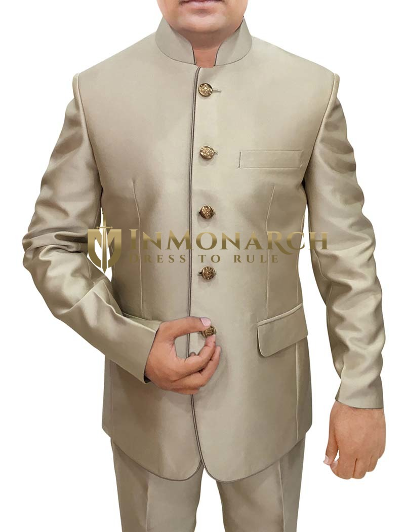 Mens Champagne Color 2 Pc Jodhpuri Suit Bandhgala