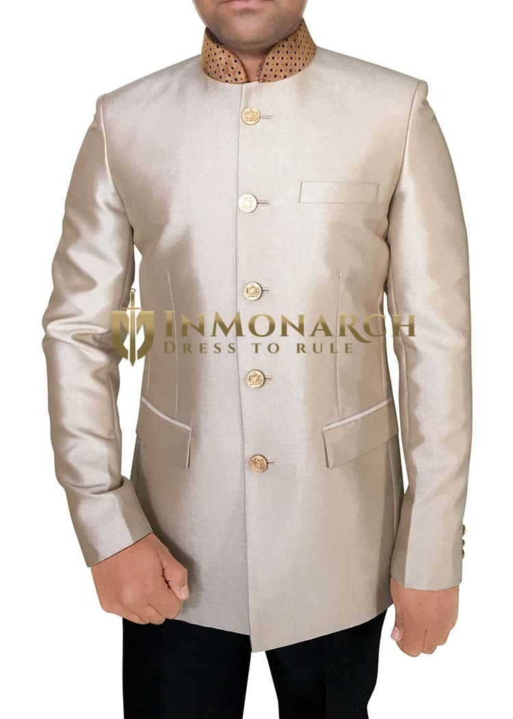 Mens Peach Polyester 2 Pc Jodhpuri Suit Velvet Collar