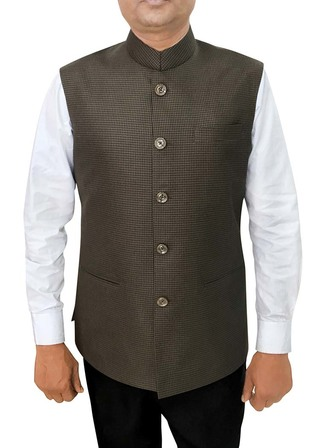 Mens Olive Drab Waistcoat Nehru Vest Partywear