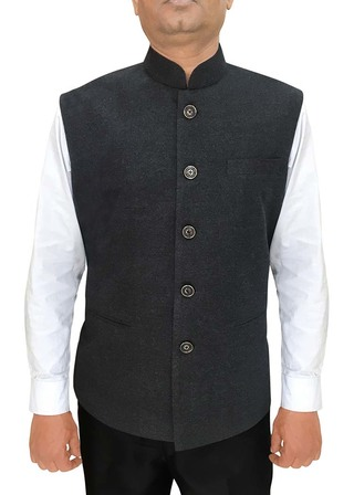 Mens Indian jacket Gray Nehru Vest for Reception
