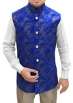 Mens Royal Blue Modi Jacket Nehru Vest Floral Print