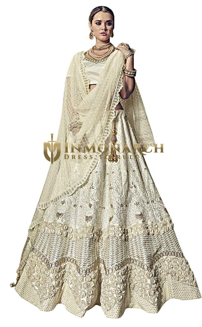 Bridal Cream Pure Satin Lehenga Choli
