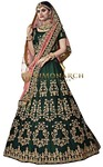 Embroidered Green Velvet Lehenga Choli