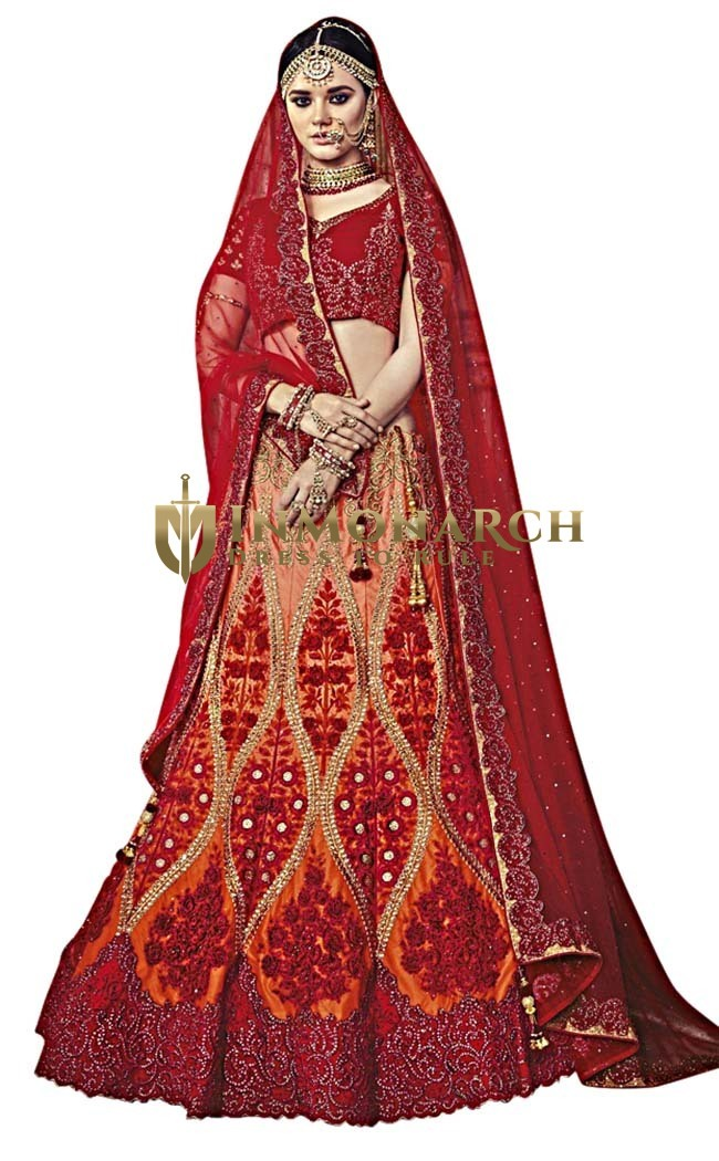 Shaded Orange and Red Satin Wedding Lehenga