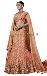 Heavy Work Peach Net Lehenga Choli