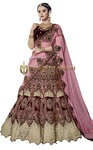 Traditional Maroon Velvet Lehenga Choli