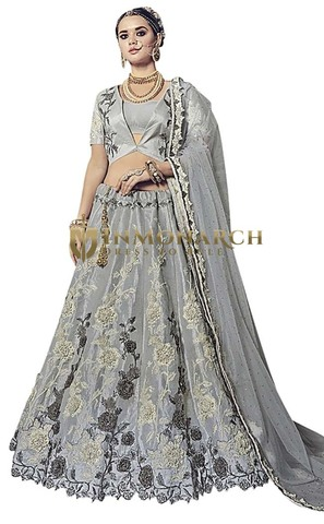 Indian Wedding Gray Banaras Silk Lehenga