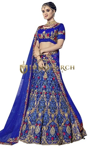 Royal Blue Digital Net Designer Lehenga