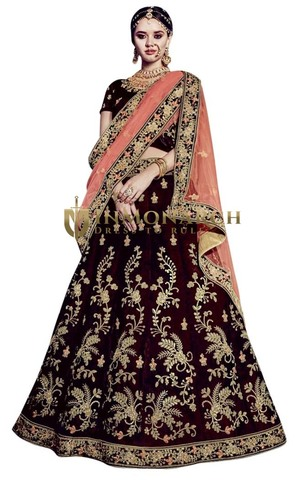 Embroidered Maroon Velvet Bridal Lehengas