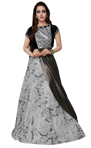 Gray and Black Art Silk Lehenga Style Saree