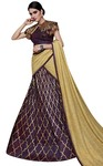 Purple Wine Tussar Silk Lehenga Saree