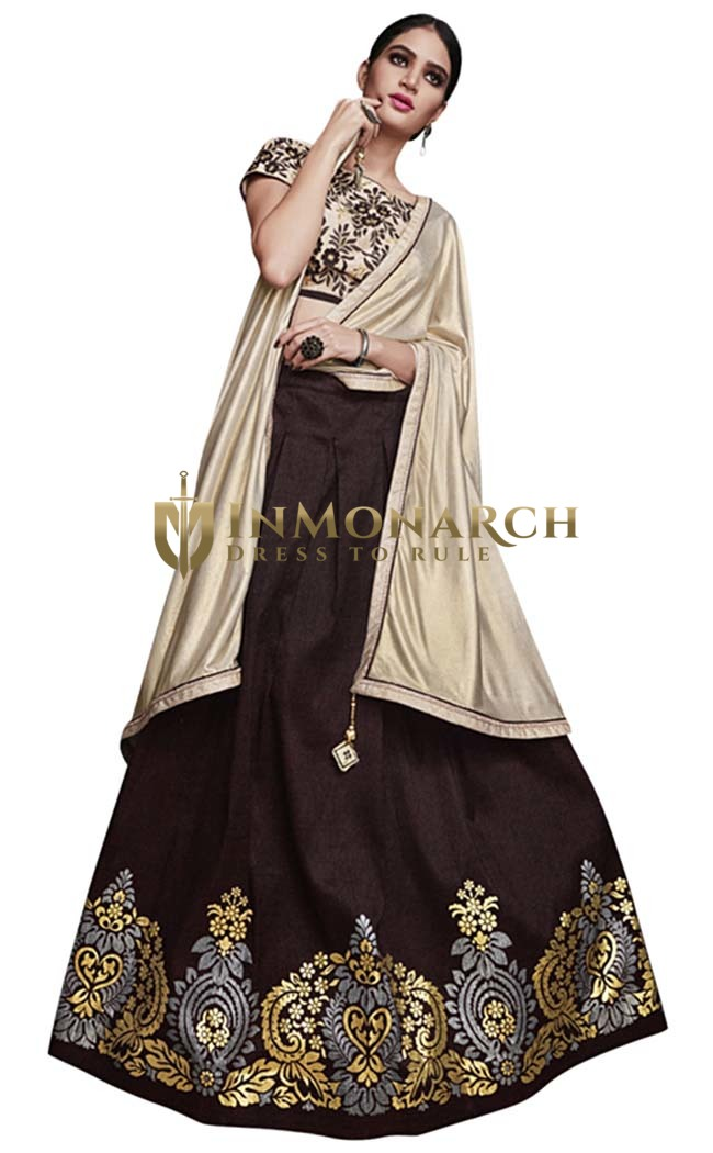 Chocolate Brown Tussar Silk Lehenga Style Saree
