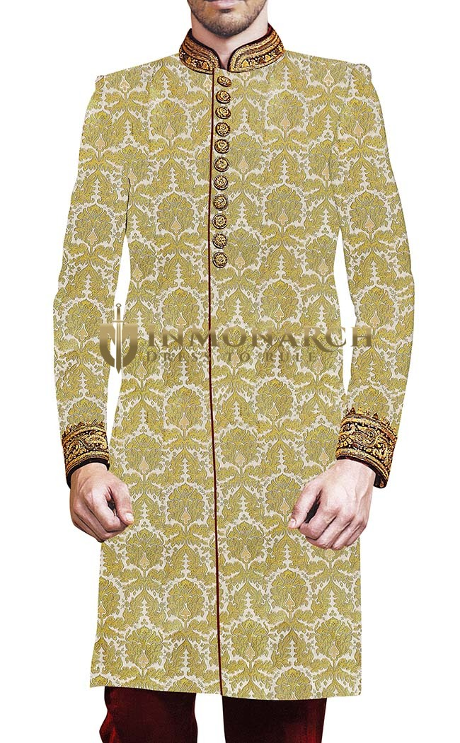 Groom Sherwani For Men Cream Sherwani Embroidered