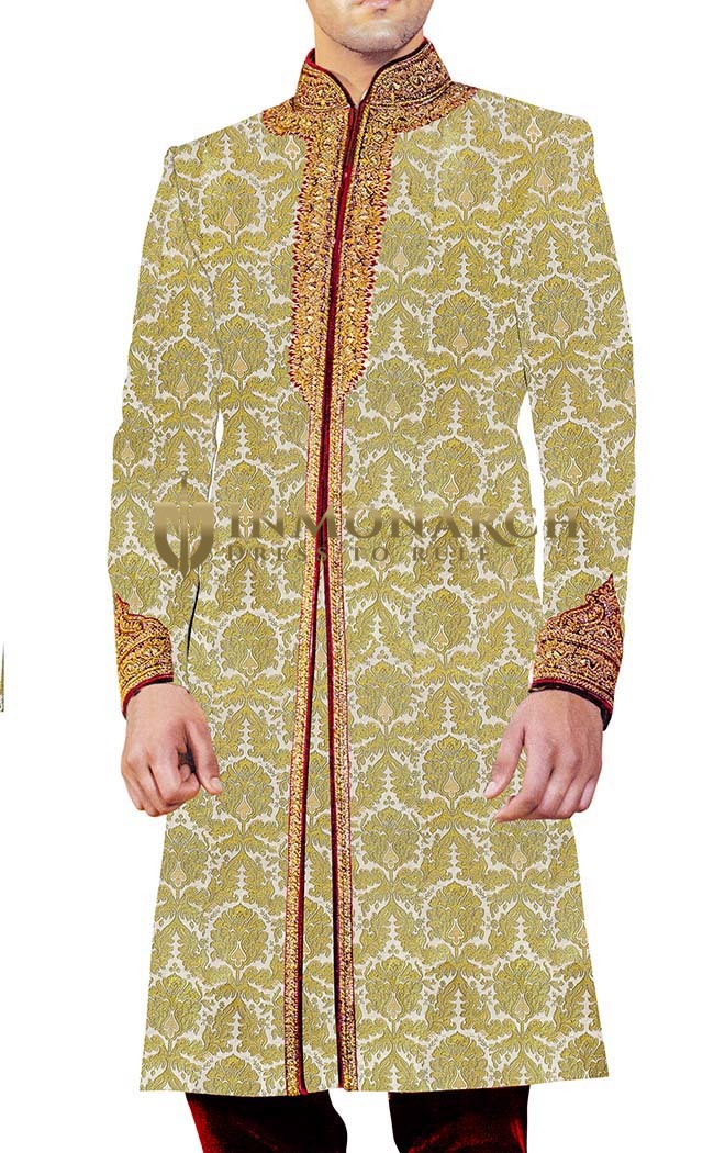 Men Sherwani Cream Sherwani Traditional Western Attire