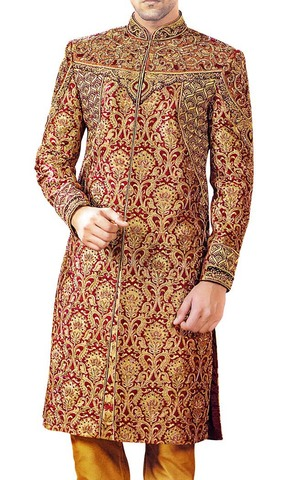 Mens Sherwani For Men Maroon Wedding Sherwani Golden Flower