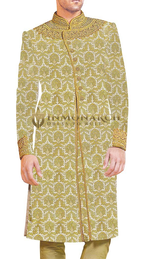 Groom Sherwani For Men Wedding Cream Wedding Sherwani Ethnic