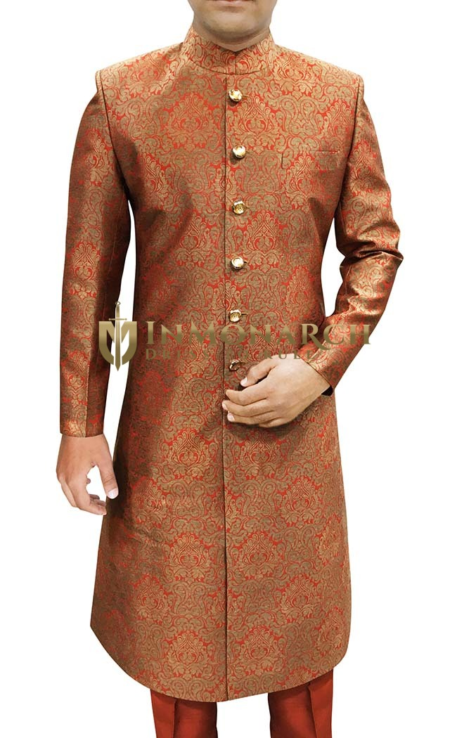 Mens Indian Orange Wedding Sherwani