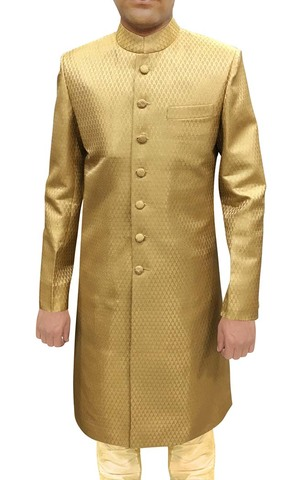 Mens Western Attire Golden Wedding Sherwani Ethnic indian Wedding