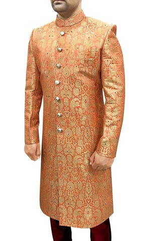 Mens Indian Sherwani Orange Sherwani For Groom Indo Western Outfit