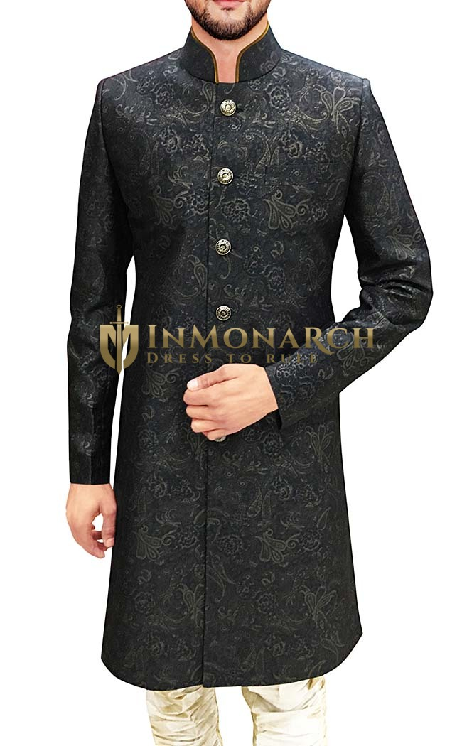 Mens Indian Suit Gray Sherwani Floral Printed Western Attire