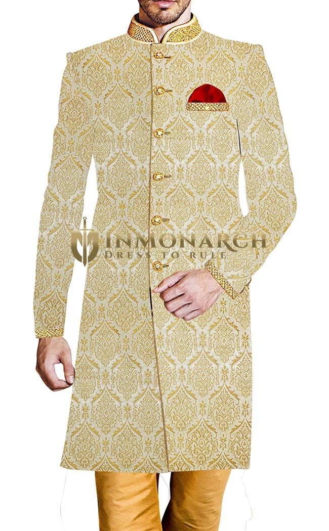 Mens Indo Western Outfit Cream Sherwani Indian Wedding