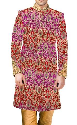 MensSherwani Magenta and Red Sherwani Embroidered