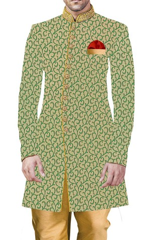 Sherwani for Men Green Indowestern Indian Wedding Clothes for Men