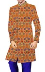 Mens Orange kurta for jeans Indowestern Floral Pattern Sherwani