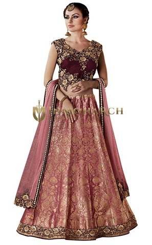 Burgundy Weaved Silk Lehenga Choli