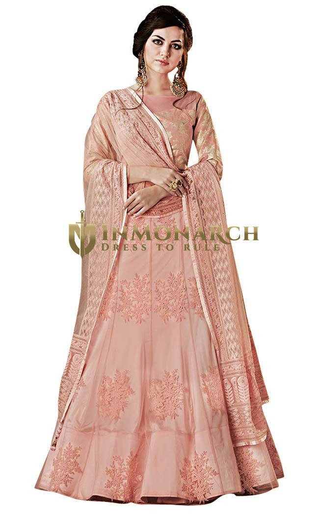 Pink Net Bridal Lehenga Choli