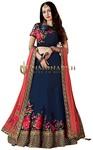 Dark Navy Taffeta Silk Wedding Lehenga Choli