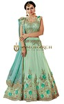 Embroidered Cyan Net Lehenga Choli