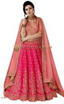 Crimson Dual Tone Silk Bridal Lehenga Choli