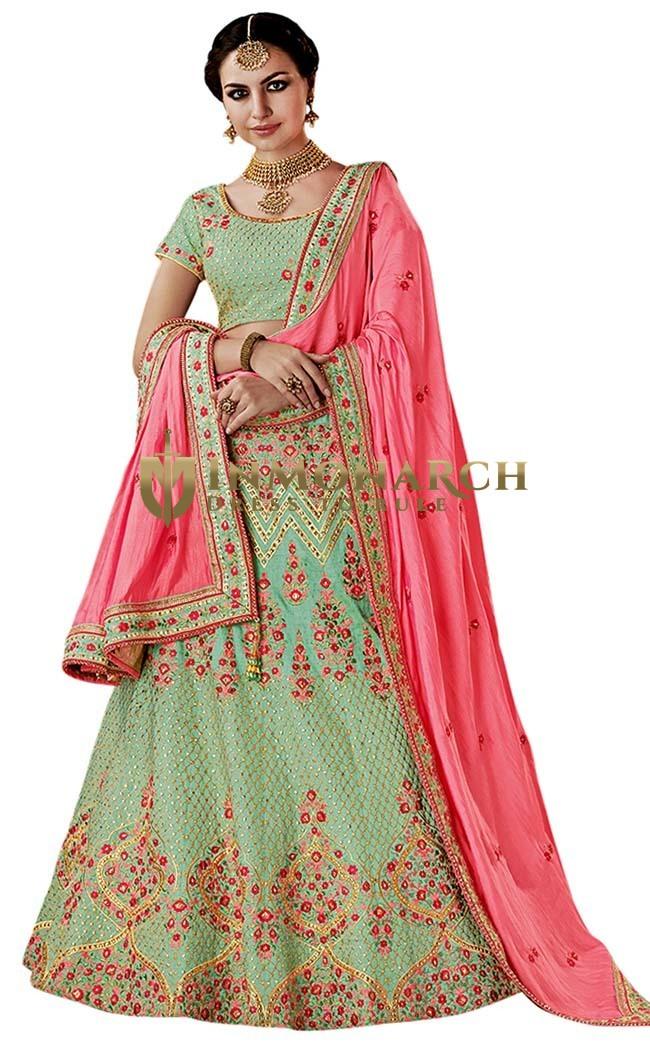 Green Silk Wedding Lehenga Choli