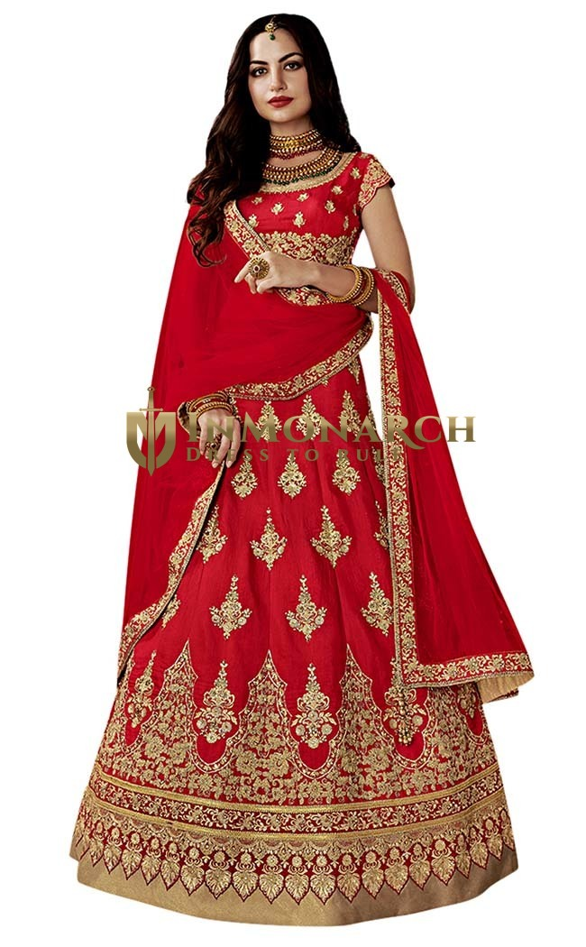 Traditional Crimson Silk Lehenga Choli