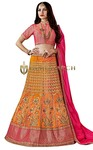 Orange and Magenta Silk Lehenga Choli