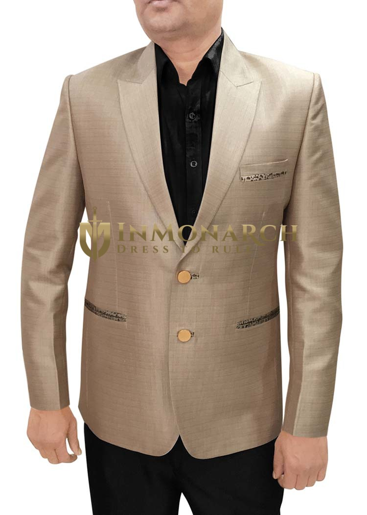 Mens Slim fit Casual Bronze Polyester Viscose Blazer sport jacket coat Peak Lapel