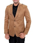 Mens Slim fit Casual Tan Leather Velvet Blazer sport jacket coat Notch Lapel