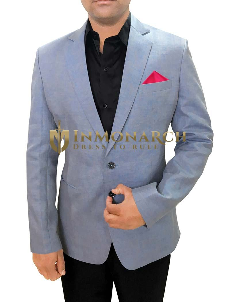 Mens Slim fit Casual Sky Blue Linen Blazer sport jacket coat Notch Collar