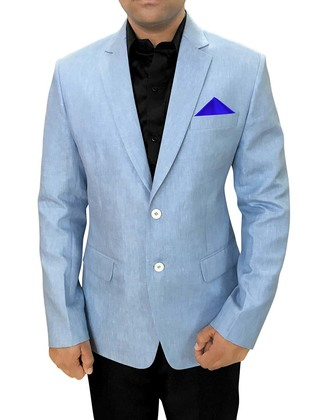 Mens Slim fit Casual Sky Blue Linen Blazer sport jacket coat For Sports