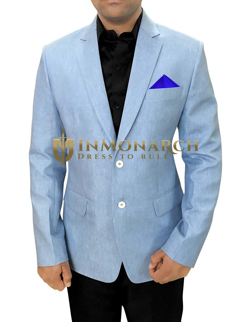 Mens Sky Blue Linen Blazer For Sports | InMonarch
